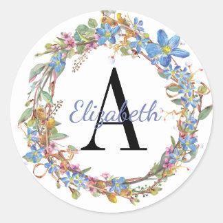 Sticker Rond Guirlande florale bleue et rose d'aquarelle