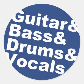 Sticker Rond Guitar&Bass&Drums&Vocals (blanc)