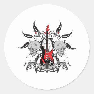 Sticker Rond Guitare grunge