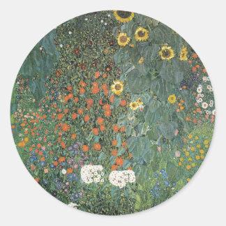 Sticker Rond Gustav Klimt - fleurs de tournesols de jardin de