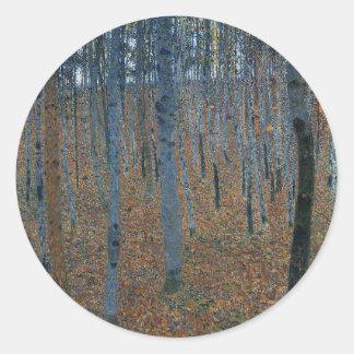 Sticker Rond Gustav Klimt - hêtraie. Faune de nature d'arbres