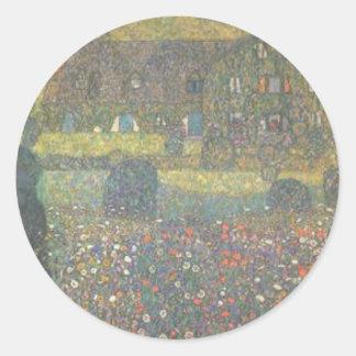 Sticker Rond Gustav Klimt - maison de campagne par l'art