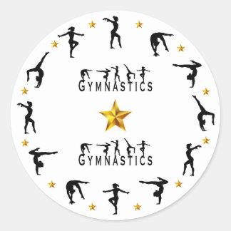 Sticker Rond Gymnastique, femelle, étoiles d'or