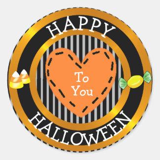 Sticker Rond Halloween heureux à vous a piqué l'autocollant de