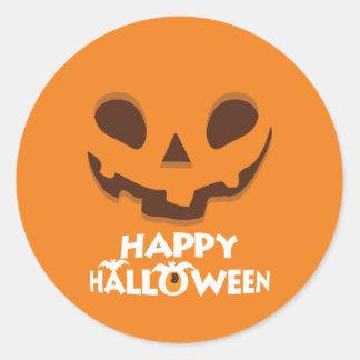 Sticker Rond Halloween heureux. Lanterne bizarre de Jack O