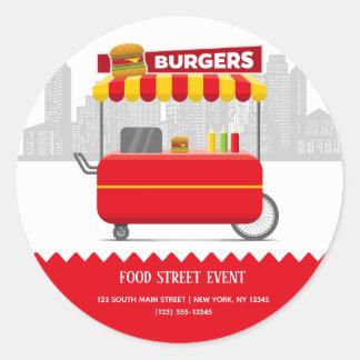 Sticker Rond Hamburgers d'hamburgers de rue de nourriture