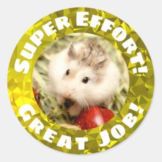 Sticker Rond Hammyville - encouragement scintillant de hamster