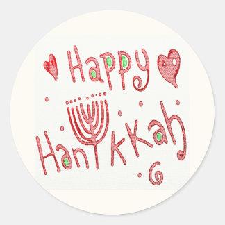 Sticker Rond Hannukah heureux