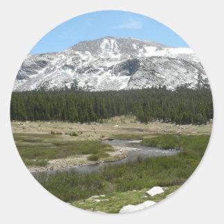 Sticker Rond Haut parc du courant I Yosemite de montagne de