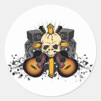 Sticker Rond Haut-parleurs et crâne de guitares