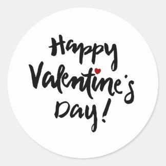 Sticker Rond Heureuse Sainte-Valentin avec le coeur rouge