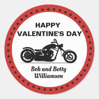 Sticker Rond Heureuse Sainte-Valentin personnalisée de moto