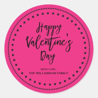 Sticker Rond Heureuse Sainte-Valentin rose et noire