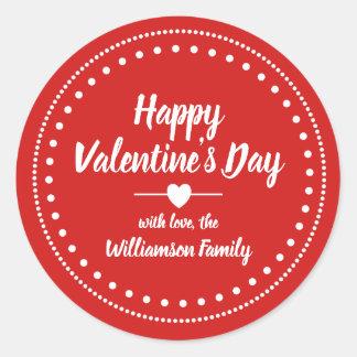Sticker Rond Heureuse Sainte-Valentin rouge et blanche