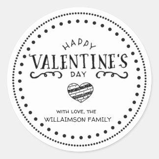 Sticker Rond Heureuse Sainte-Valentin tirée par la main