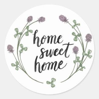 Sticker Rond Heureux à la maison douce | à la maison des mots I