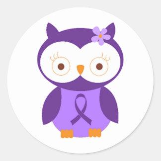 Sticker Rond Hibou de fibromyalgie