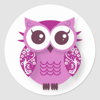 Sticker Rond Hibou rose de bande dessinée