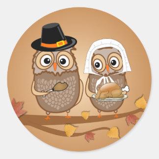 Sticker Rond Hiboux lunatiques de thanksgiving