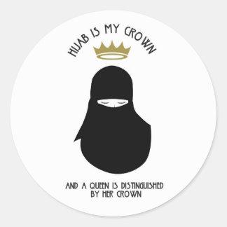 Sticker Rond Hijab est ma couronne - NIQAB