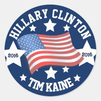 Sticker Rond Hillary Clinton et Tim Kaine 2016