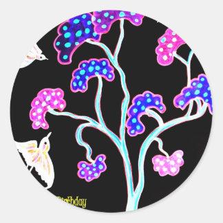 Sticker Rond Hirondelle-et-fruit-arbre-Heureux-Anniversaire
