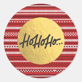 Sticker Rond HO HO HO feuille d'or de chandail de Knit de