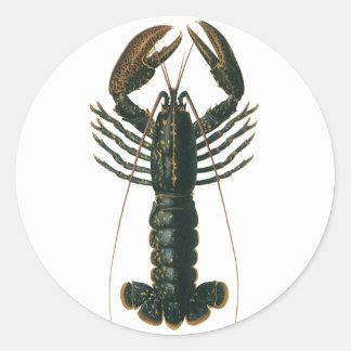 Sticker Rond Homard vintage, crustacé marin de la vie d'océan