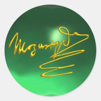 Sticker Rond HOMMAGE à la signature d'or de MOZART du vert de