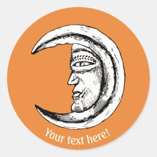 Sticker Rond Homme dans la lune