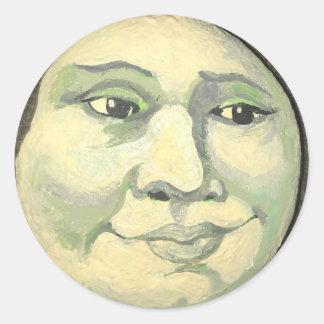 Sticker Rond Homme dans l'autocollant de lune