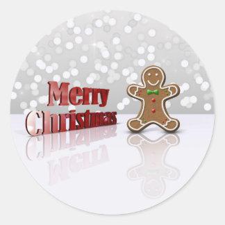 Sticker Rond Homme de Noël de pain d'épice de charme -