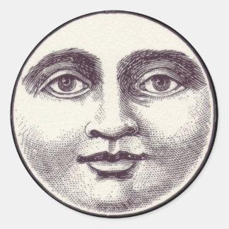 Sticker Rond Homme victorien dans l'autocollant de lune