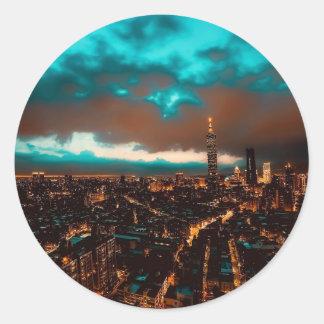 Sticker Rond Horizon de nuit de Taïpeh