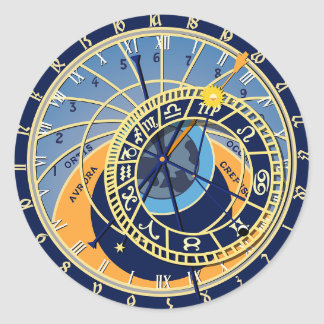Sticker Rond Horloge astrologique de Prague