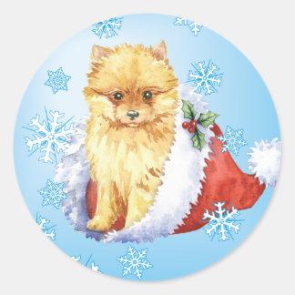 Sticker Rond Howliday heureux Pomeranian