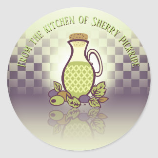Sticker Rond huile d'olive assaisonnée de la cuisine de