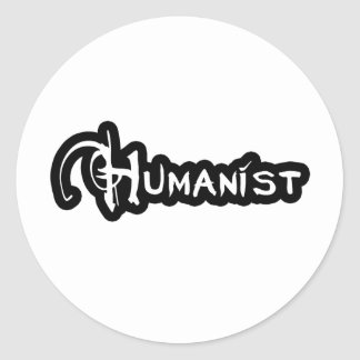 Sticker Rond Humaniste en noir et blanc