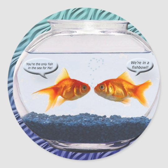 Sticker rond humour de bocal poissons de poisson rouge for Bocal poisson plastique