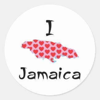 Sticker Rond I coeur Jamaïque