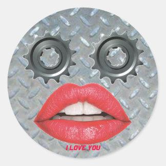 Sticker Rond i love you métal