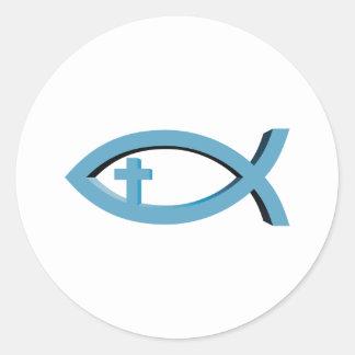Sticker Rond Ichthus - symbole chrétien de poissons avec le
