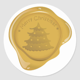 Sticker Rond Icône de joint de cire de Noël - arbre de Noël