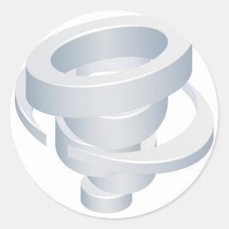 Sticker Rond Icône de la tornade 3d d'ouragan de cyclone de