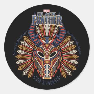 Sticker Rond Icône tribale noire de masque de la panthère |