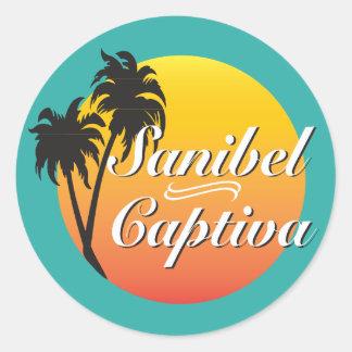 Sticker Rond Îles la Floride de Sanibel et de Captiva