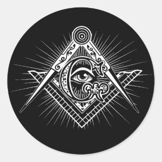 Sticker Rond Illuminati tout le symbole voyant de franc-maçon