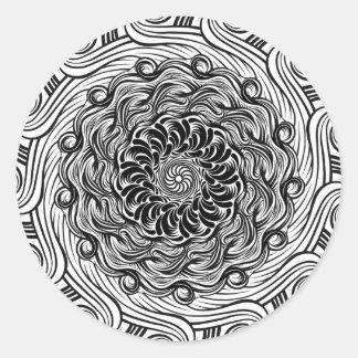 Sticker Rond Illusion optique de griffonnage fleuri de zen
