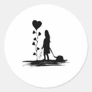 Sticker Rond Illustration de concept d'amour d'encemencement