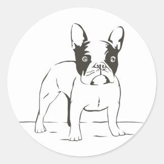 Sticker Rond Illustration de noir de chiot de bouledogue